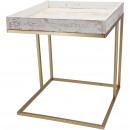 Wooden table Kelmo, L40cm, W40cm, H45cm, white